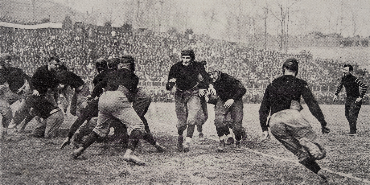 Teddy Baehr Third From Right Carries The Ball In A 1914 UC Game Photo 1915 Cincinnatian