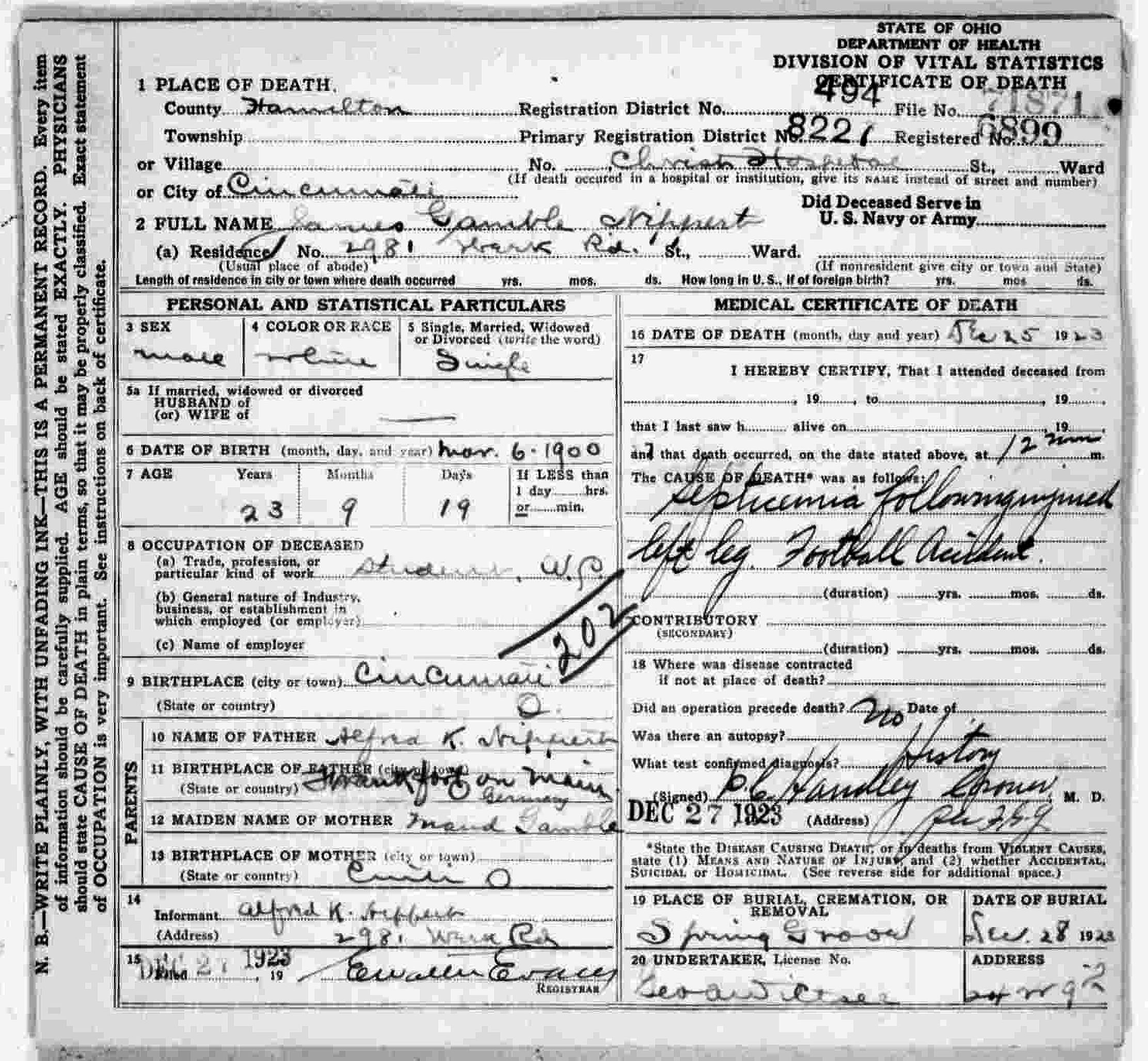 Nipperts birth record and death certificate university of cincinnati death certificate aiddatafo Gallery