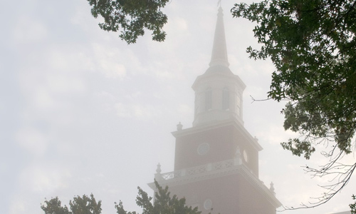 McMicken Hall on a foggy day