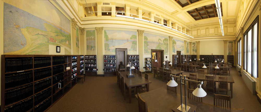 A Panoramic View Of The Interior UCs Baldwin Hall And Beautiful Murals Multipaneled On Eighth Floor Date Back To