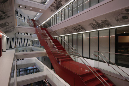 The Main Entrance Of The Lindner Center Opens Into A Five Story Atrium,  Which Features A Timeline Of UC Athletics And A History Of UC.