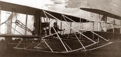 Orville Wright in plane, 1909