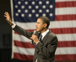 Barack Obama on campus campaigning for the presidential election