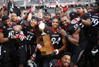 UC wins share of 2011 Big East title in football by beating Connecticut at Nippert Stadium Dec. 3, 2011.
