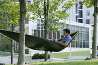Student reads outside in hammock
