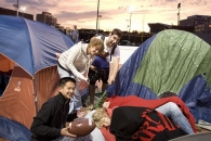 Students camping for tickets