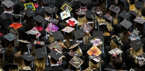 A sea of UC Students Commencement hats Saturday May 2, 2015 at Fifth Third Arena. UC/Joseph Fuqua II