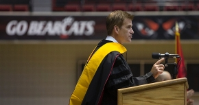 President of brand solutions at Google and UC alumnus Kirk Perry gestures as he delivered his commencement address to students during the afternoon Commencement. UC/Andrew Higley