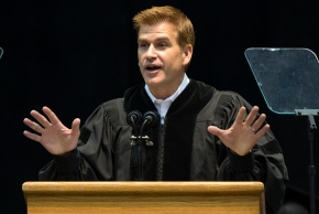 President of brand solutions at Google and UC alumnus Kirk Perry gestures as he delivered his commencement address to students Saturday May 2, 2015 at Fifth Third Arena. UC/Joseph Fuqua II