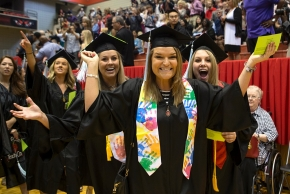 UC College of Nursing students cheer as they march in during morning Commencement ceremony Saturday May 2, 2015 at Fifth Third Arena. UC/Joseph Fuqua II