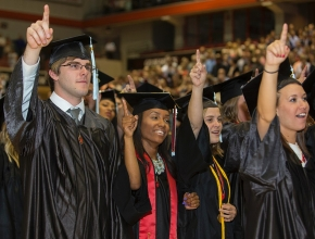 UC Students sing their Alma Mater sing during morning Commencement ceremony Saturday May 2, 2015 at Fifth Third Arena. UC/Joseph Fuqua II