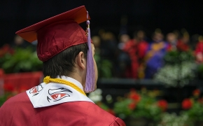 UC Students Athlete looks on during the afternoon Commencement. UC/Andrew Higley