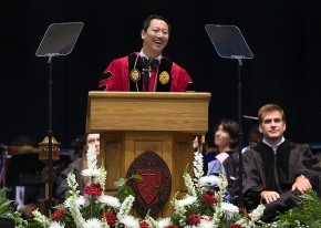 UC President Santa Ono smiles as he spoke during the afternoon Commencement. UC/Andrew Higley