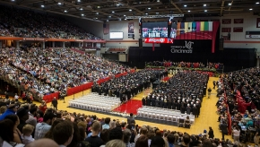 UC Students and faculty take their seats during morning Commencement ceremony Saturday May 2, 2015 at Fifth Third Arena. UC/Joseph Fuqua II