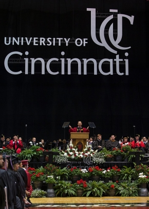 UC President Santa Ono spoke during the afternoon Commencement. UC/Andrew Higley