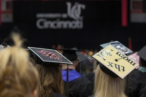 Detail shot of UC students' custom hats. UC/Andrew Higley