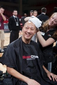 UC President Santa Ono and student body president Lane Hart shaved their heads to support the Dragonfly Foundation.