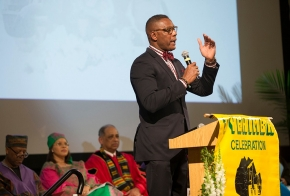 Honorary doctorate awardee Lewis Johnson speaks at 2017 Tyehimba, the 26th annual Afro-centric graduation celebration.