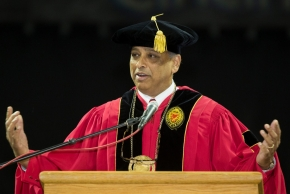 UC President Neville Pinto gives his commencement speech.