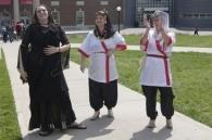 Women dressed up for Worldfest.