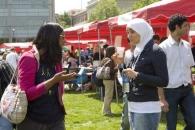 Students talk at worldfest.