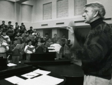 Professor Elmer Thomas directing a chorus at CCM.