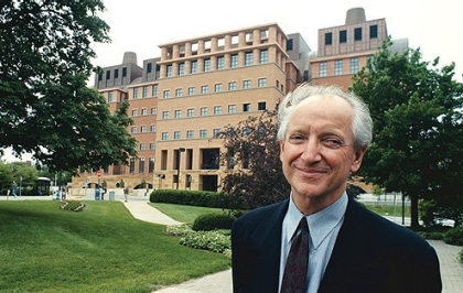 Architect Michael Graves in front of the building he designed for the University of Cincinnati.