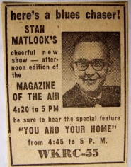 1953 newspaper ad for Stan Matlock's radio program