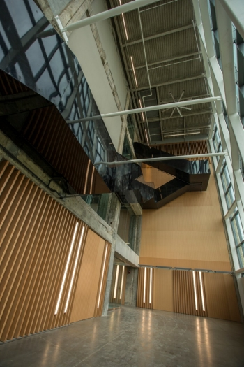 A view of the black lobby staircase from the ground floor.