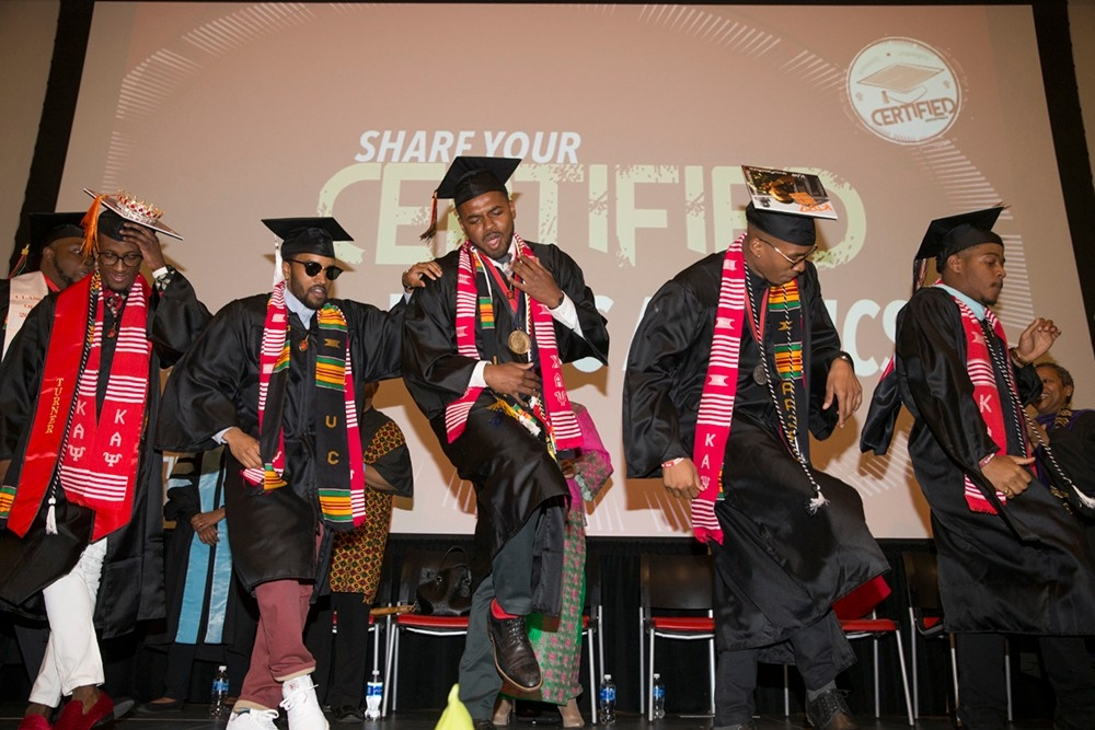 African-American grads strut their stuff at Tyehimba.