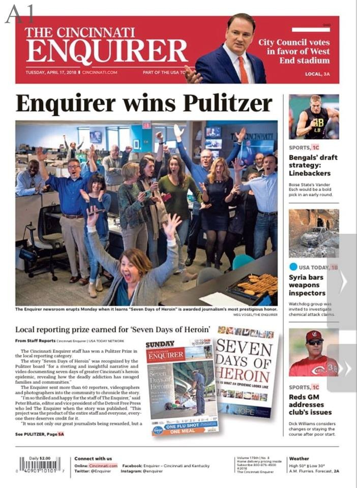 Front cover of the April 17, 2018, edition of The Enquirer print newspaper with the lead story on the newspaper's Pulitzer win