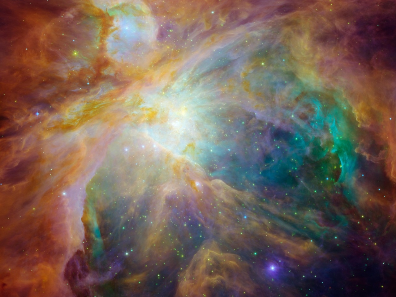 The Orion Nebula is captured by the Hubble Space Telescope. (NASA/JPL-Caltech/STScI)