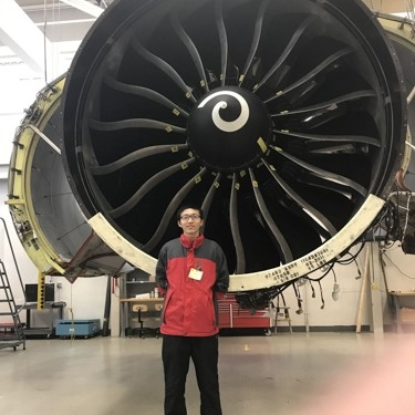 Visiting a jet engine lab.