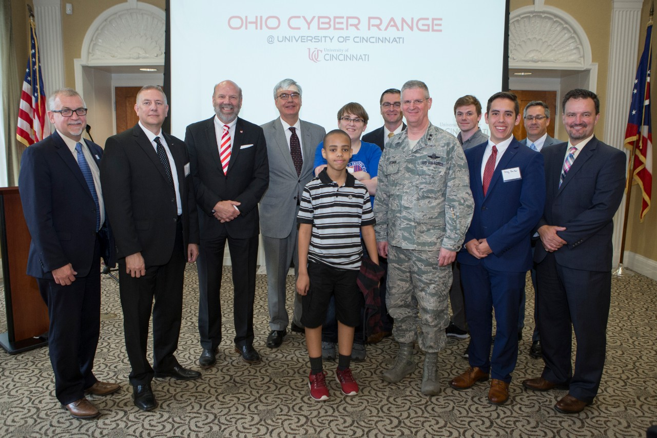 The University of Cincinnati hosted officials from the Ohio Department of Higher Education, the Ohio Adjutant General's Department, and U.S. Cyber Command when it launched the Ohio Cyber Range on Tuesday, May 29. photo/Joseph Fuqua II/UC Creative Services