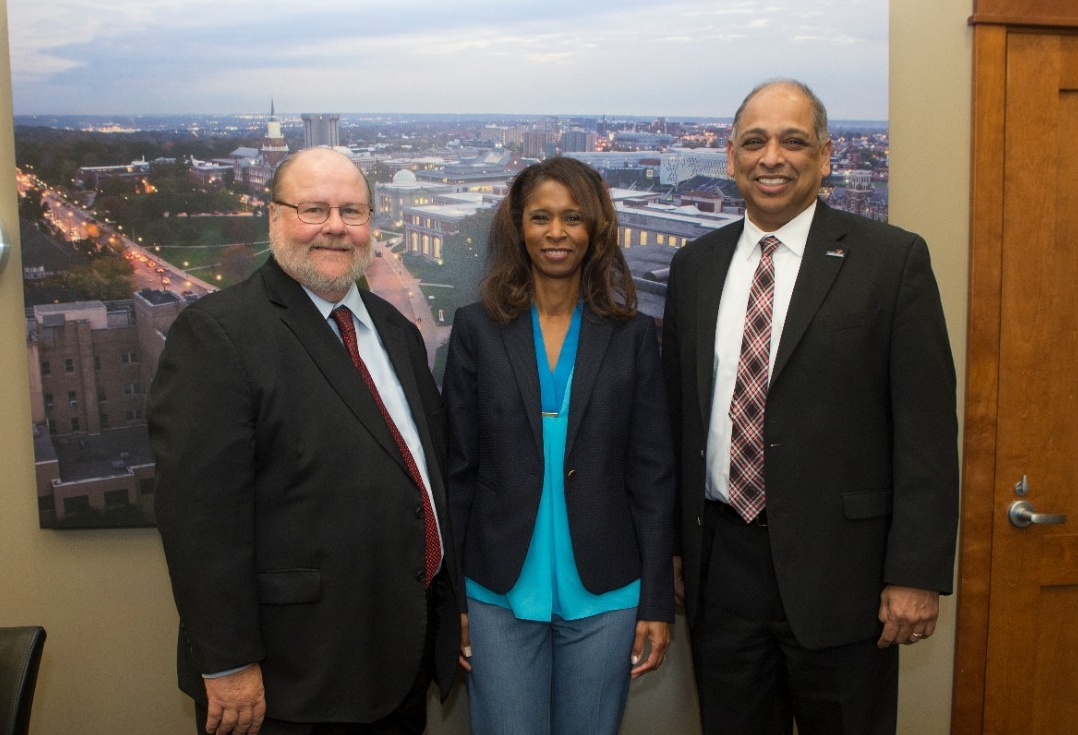 From left to right, College of Education, Criminal Justice, and Human Services Dean Lawrence Johnson, CPS Superintendent Laura Mitchell, and UC President Neville Pinto meet ahead of the signing ceremony Wednesday.
