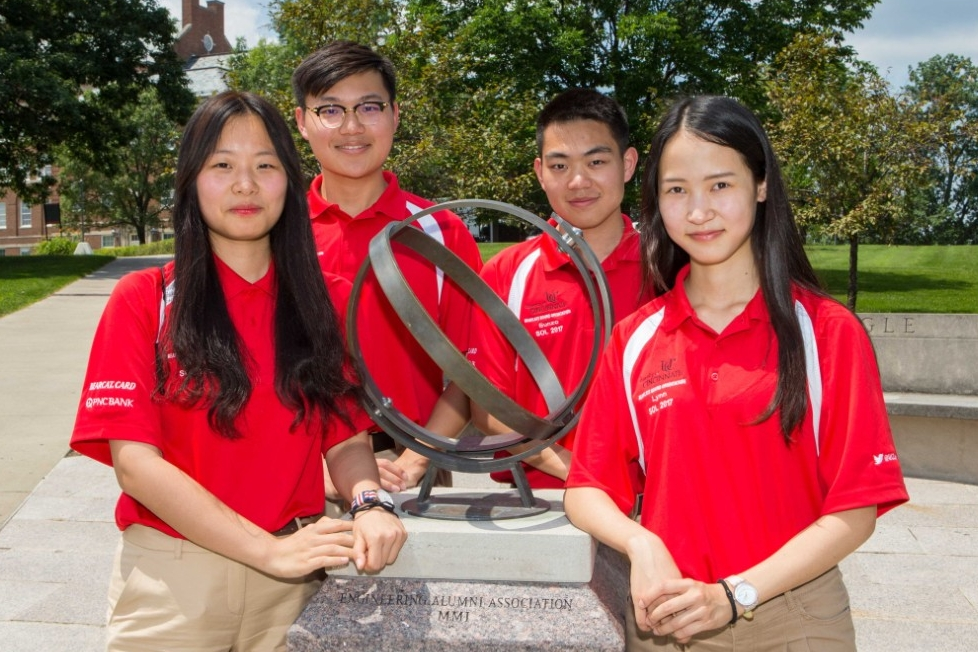 New Chinese students pose on campus