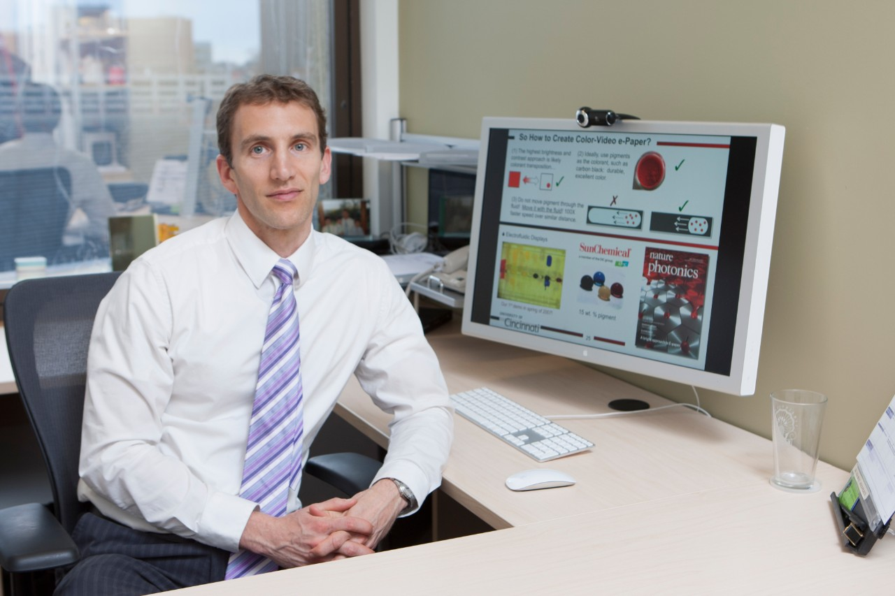 UC professor Jason Heikenfeld, director of the Novel Devices Lab, is working on creating better biosensors. (Lisa Ventre/UC Creative Services)