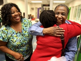 David Ayers hugs family members