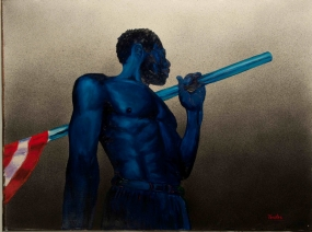 Wearing no shirt, an African-American man has decidedly blue skin. He face is turned away, but riding over his shoulder is a pole that carries a cloth. Only the bottom edge of the cloth shows three stripes of red and white.
