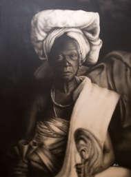 Towler's painting of an old black-skinned woman with her air in a towel