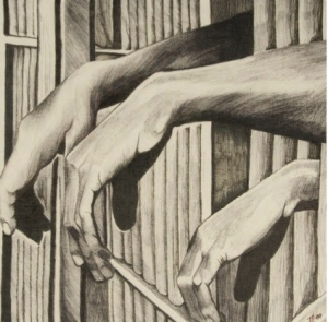 A sketch of three hands dangling through prison bars.