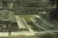 The ballcourt in the Great Plaza at Tikal.