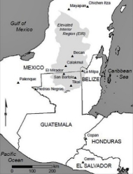 Map of Tikal and adjacent areas around Guatemala.