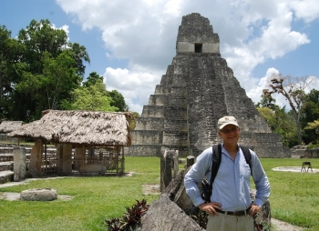 Professor Lentz stands in center of the Great Plaza at Tikal.