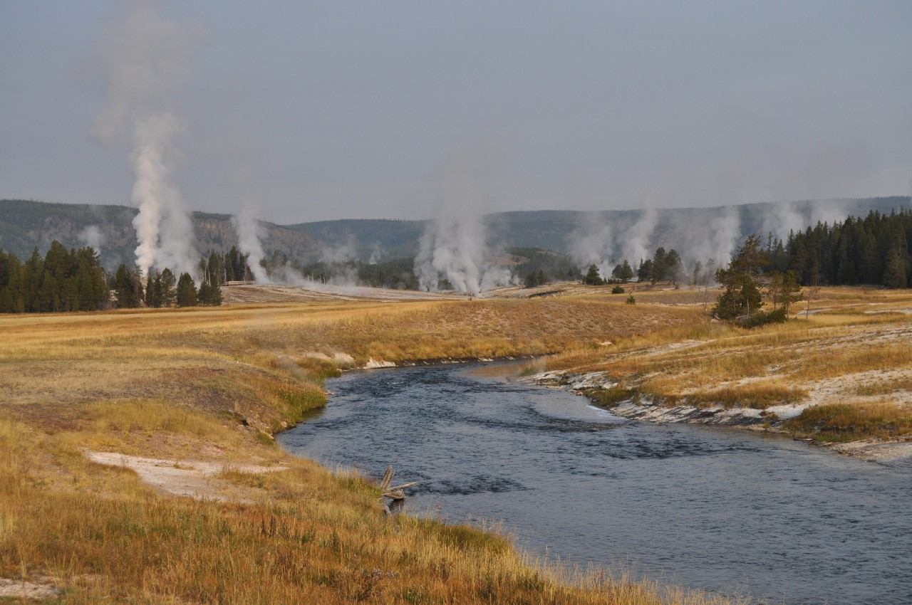 Yellowstone National Park in Wyoming is home to one of the world's most active geothermal areas, featuring mud pots, erupting geysers and boiling springs that give the Firehole River its name. (Michael Miller)