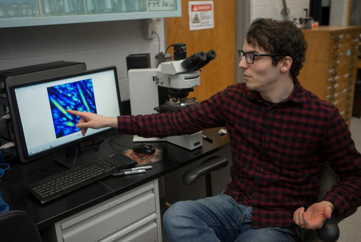 UC graduate student Andrew Gangidine used a secondary ion mass spectrometer to identify elements found in geothermal deposits.