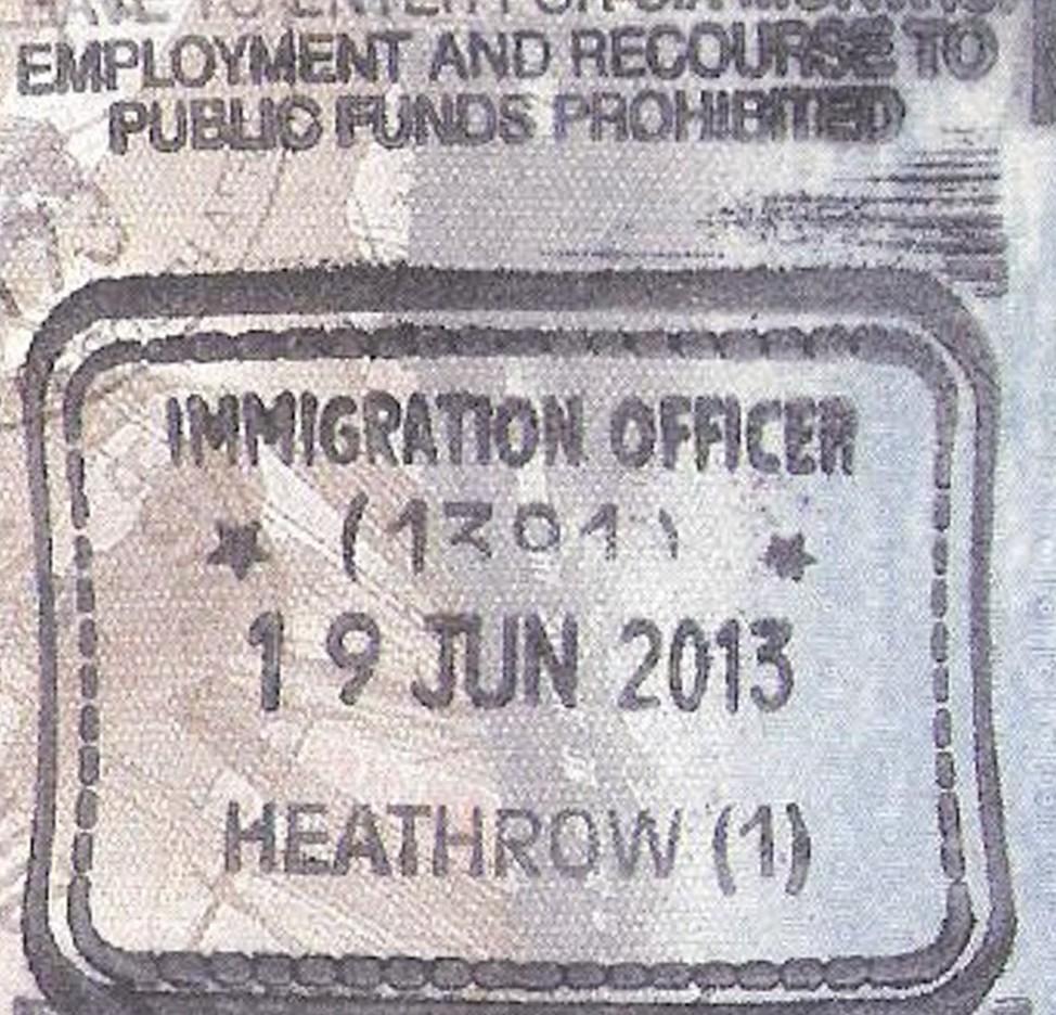 A passport stamp reads Heathrow.