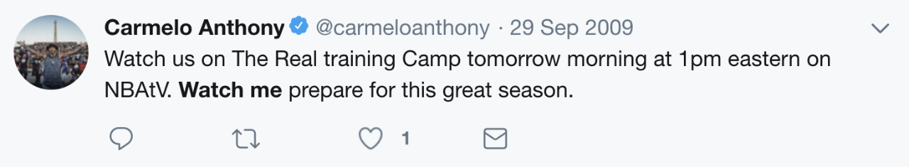 Carmelo Anthony tweet