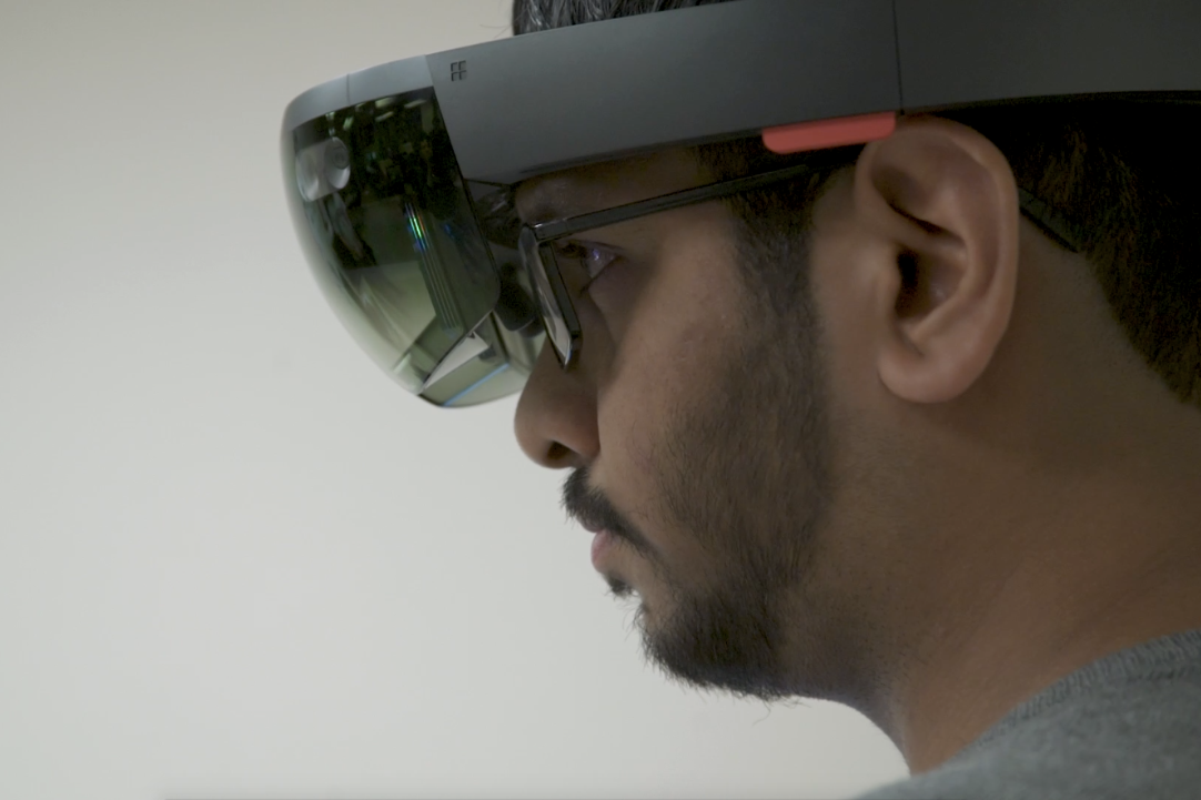 Augmented reality places virtual reality in the confines of a real setting like an engineering lab or conference room.