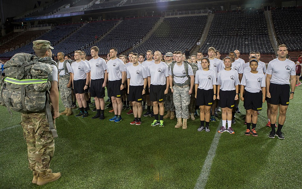 ROTC soldiers stand at attention in formation.